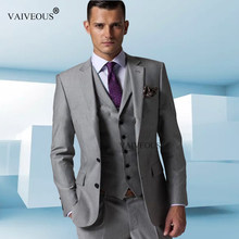Custom Made Wedding Tuxedo Grey Suits Retro Groom Suit Mens Jacket 2017 Slim Fit Wedding Suits 3 Piece Grey Suit Set(China)