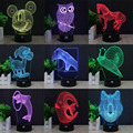 Búho delfín lobo 3d led lámpara decorativa lámpara de mesa usb novelty night lights regalo del niño hui yuan marca