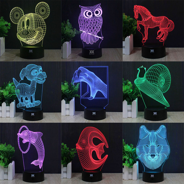 OWL Dolphin Wolf 3D Lamp LED Decorative Table Lamp USB Novelty Night Lights Child's Gift HUI YUAN Brand