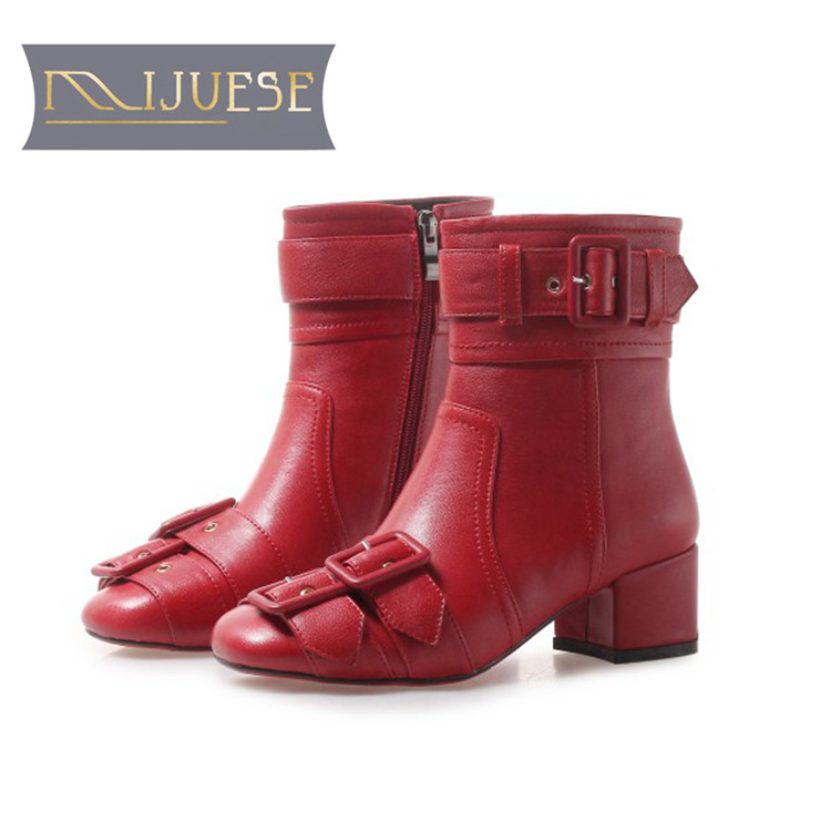 MLJUESE 2019 women ankle boots cow leather buckle strap red color fashion high heels boots winter short plush warm boots MLJUESE 2019 women ankle boots cow leather buckle strap red color fashion high heels boots winter short plush warm boots