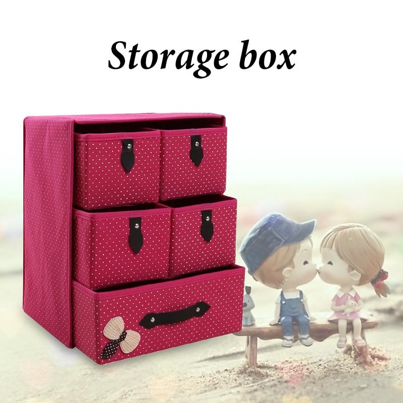 Non Woven Three Layered Storage Box Desktop Drawers Makeup