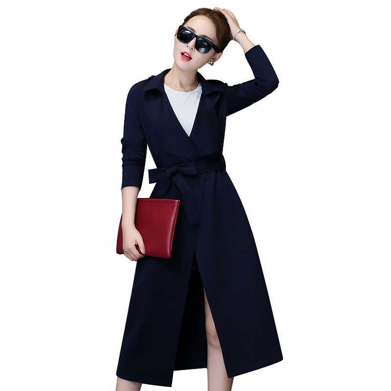 2018 Autumn And Winter New Women   Trench   Coat Korean Slim Was Thin Long Windbreaker Female Fashion Waist Solid Spring Thin Coat