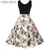 Nisan Moda Kolsuz Yaz Elbise 2017 Çiçek Ayçiçeği Ananas Baskılı Patchwork Tankı Elbise Rockabilly Salıncak Feminino Elbiseler