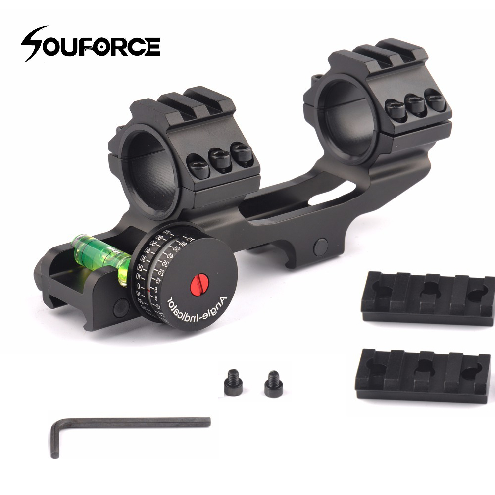 New 3 Shape Tactical 25.4/30mm Scope Ring With Base Mount Angle Indicator And Bubble Level For Hunting Accessories