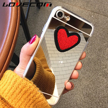 LOVECOM New For Samsung S4 S5 S6/S7 S6/S7 Edge S8 S8 Plus Phone Case DIY Stitches Love Heart Silver Mirror Soft TPU Back Covers