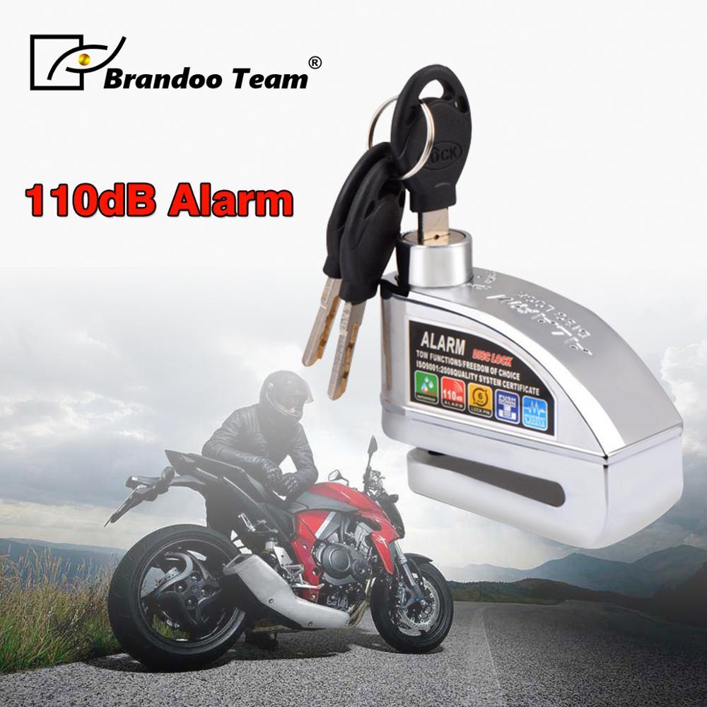 Serrure d'alarme moto étanche vélo acier inoxydable serrure Motocross avertissement serrure de sécurité Anti-vol frein moteur alarme cadenas