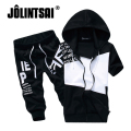 Jolintsai 2017 Summer Hoody Men Clothing Set Hoodies Sweatshirt+Shorts Tracksuit Letter Print Men Sudaderas Hombre 2 pieces set