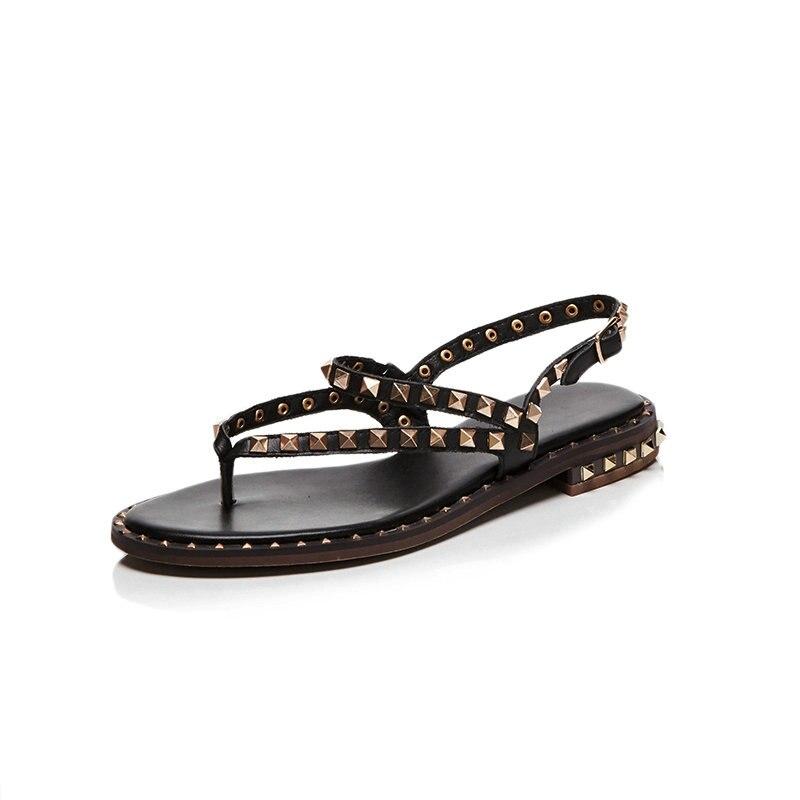 정품 가죽 여성 샌들 버클 리벳 클래식 여름 숙녀 신발 스퀘어 힐 여성 낮은 굽 샌들 블랙 화이트 브라운-에서로우힐부터 신발 의  그룹 2