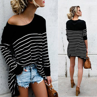 2018 Pull Poncho European And American Women S Cross Border E Commerce Ebay Bursting Stripes Splicing