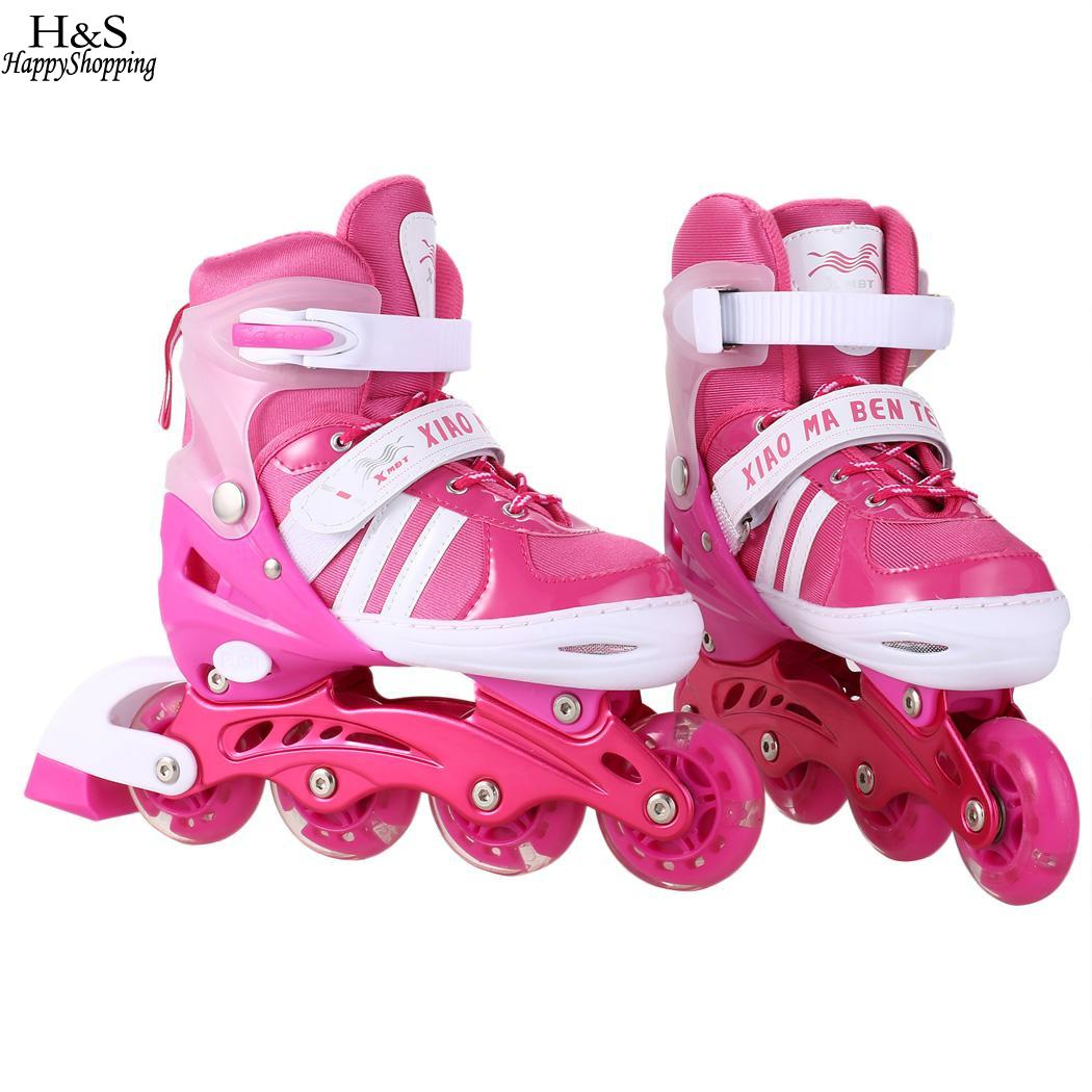 1 Pair Adult Children Inline Skate Roller Skating Shoes Adjustable Washable All Flashing Wheels Patines 2 Colors For Girls Boys
