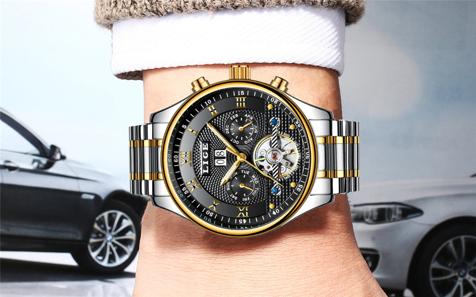 Topdudes.com - LIGE Luxury Sports Fashion Leather Automatic Mechanical Watch Relogio Masculino