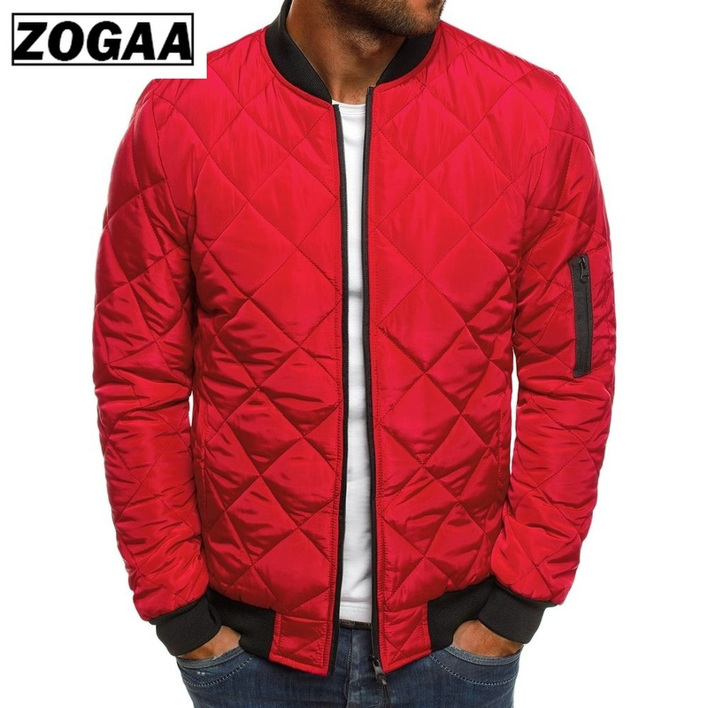 Zogaa Men Autumn Casual Plaid Parkas Jacket Wind Breaker Solid Color Brand Overcoat Winter Clothes Zipper Jackets