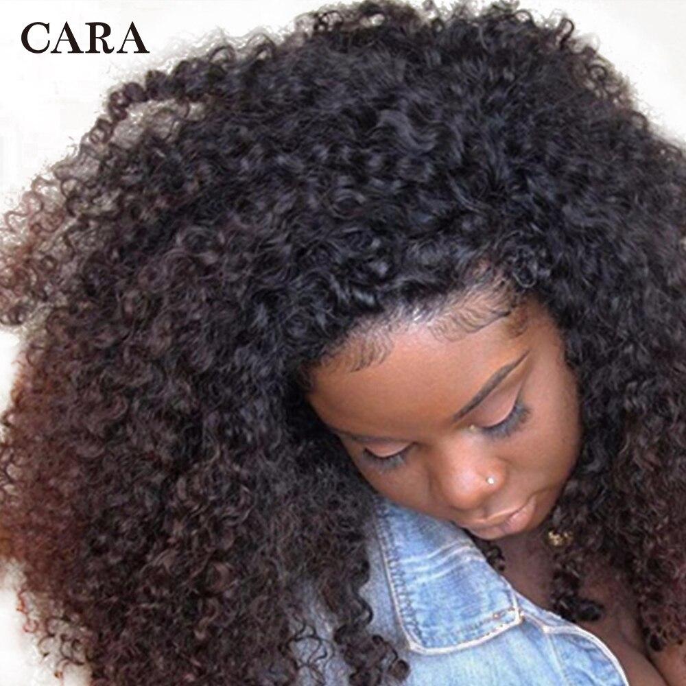 Mongol Crépus Bouclés Clip Ins de Cheveux Humains Naturel Couleur 3B 3C Clip Dans Les Cheveux Humains Extensions 7 pcs 120 Grammes/Set CARA Remy Cheveux