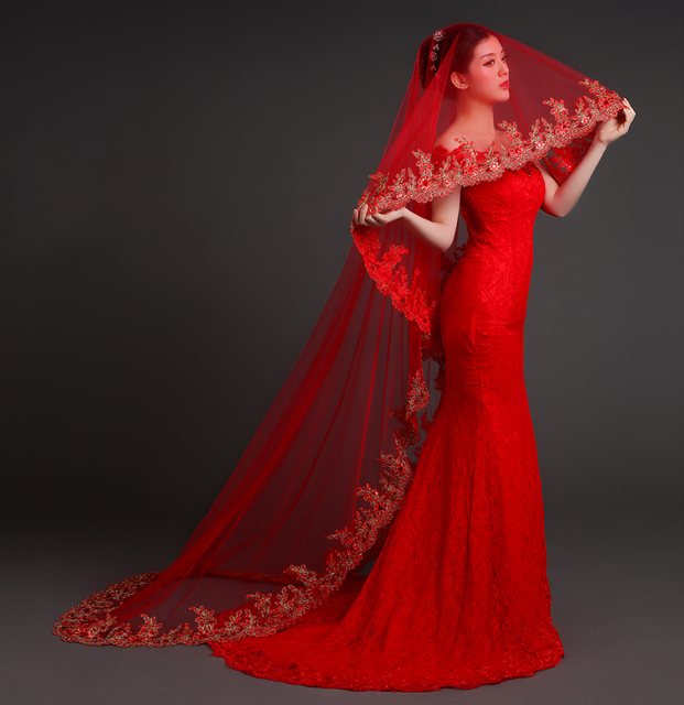 Red Wedding Veils