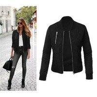 Women Basic Jacket Autumn Winter Long Sleeve Cotton Padded Coat Bomber Jacket Ladies Vintage Zipper Tops
