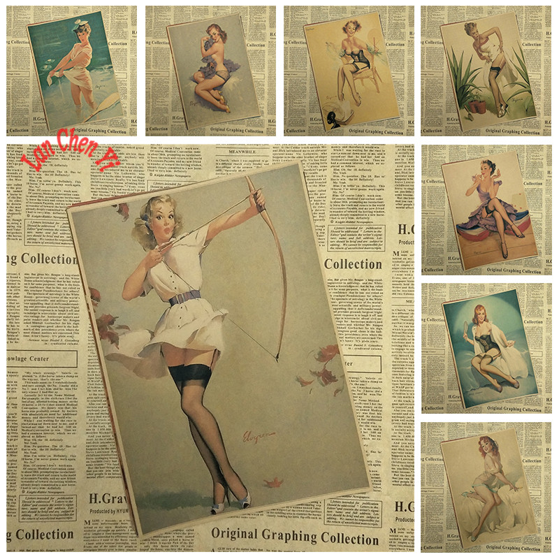 Štíhlá dívka Série 2 Vintage Kraft papír Plakát Bar Kavárna Obývací pokoj Jídelna Nástěnné Obrazy Dekorace Doma