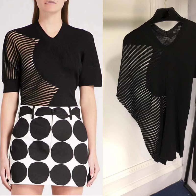 Mode personnalité haut court vadim hauts recadrée pour les femmes blouses crochet noir col en V t-shirt classique sauvage vêtements pour femmes