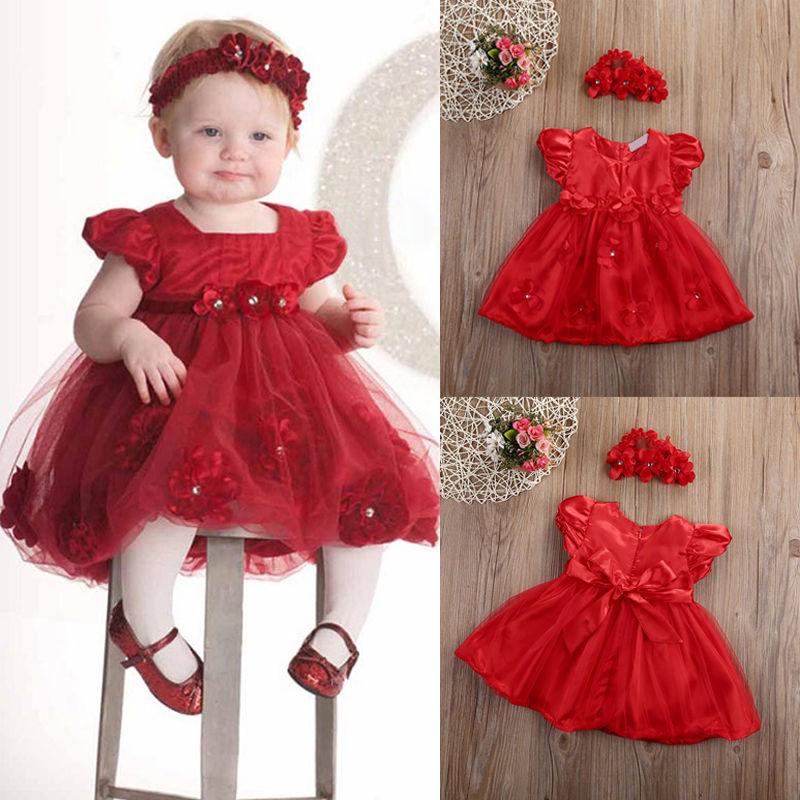 Summer Baby Girls Red Floral Dresses Little Girl Mesh Tulle Short Sleeve Headband Wedding Party Headwear Outfit Clothes Q1 2018 summer black mesh floral star embroidery short sleeve ruffles vintage long party dress runway designer maxi women dresses