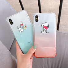 Transparent gradient coloru Mobile phone Shell Anti-collision Anti-fall TPU material Puppy for IPHONE Xs Max X/Xs/Xr/6-7/6-8plus