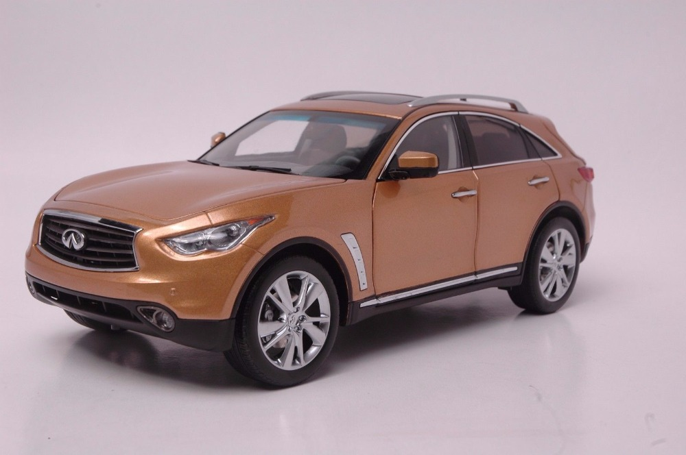 1:18 Diecast Model for Infiniti QX70 2014 Gold SUV Alloy Toy Car Miniature Collection Gift FX50 FX 1 18 vw volkswagen teramont suv diecast metal suv car model toy gift hobby collection silver