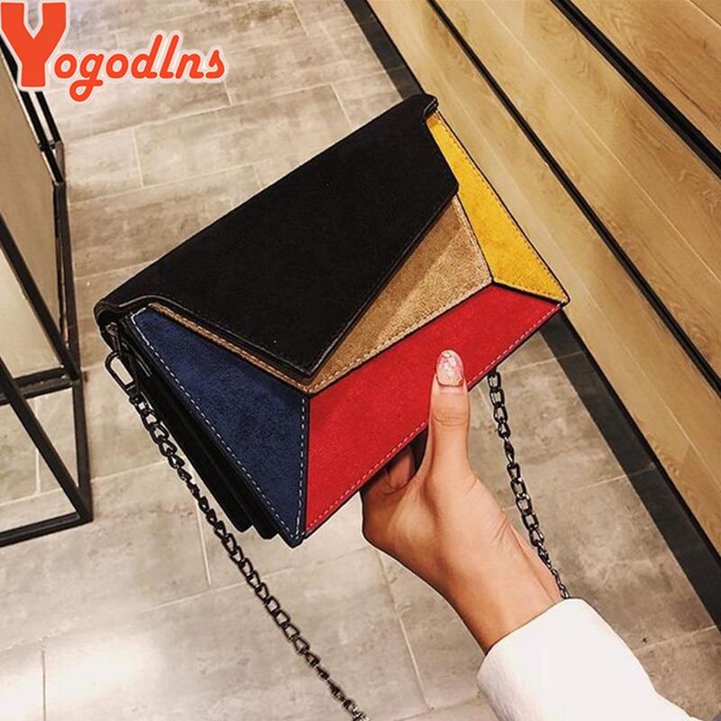 Yogodlns Retro Matte Patchwork Crossbody Bags for Women Messenger Bags Chain Strap Shoulder Bag Lady Small Flap criss-cross Bag