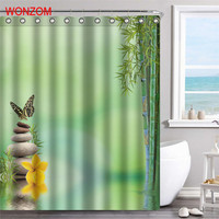 WONZOM Bamboo Polyester Fabric Stone Shower Curtain Scenery Bathroom Decor Waterproof Cortina De Bano With 12