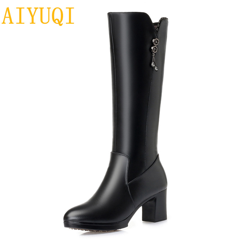 AIYUQI Winter boots women fashion snow boots new 2019 genuine leather women wool shoes high heels