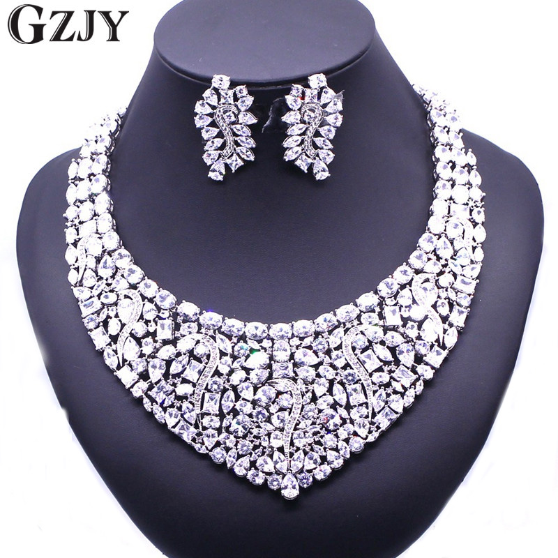 GZJY Gorgeous Zircon Bridal Jewelry Sets Shining Zircon Necklace Earrings For Women Wedding Party Accessories gzjy gorgeous red zircon bridal jewelry sets gold color flower necklace earrings ring bracelet sets wedding jewelry for women