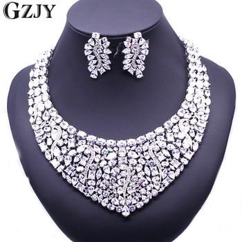GZJY Gorgeous Zircon Bridal Jewelry Sets Shining Zircon Necklace Earrings For Women Wedding Party Accessories