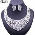 Gzjy lindo zircon conjuntos de jóias de noiva brilhante zircão colar brincos para festa de casamento feminino acessórios