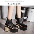 Botas de madeira sapatos de salto alto tornozelo botas de neve para as mulheres botas do punk sapatos de plataforma preto botas de plataforma das mulheres 2017 sapatos D919