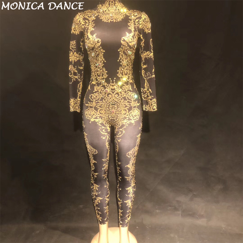 Women Sexy Gold Rhinestones Jumpsuit Performance Outfit Female Singer Leggings Nude -5018