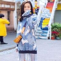 TREND Setter 2019 Spring Fashion Blue Crane Pattern Dress Splice Mesh Women Loose Casual Pullovers Long Sleeve