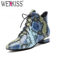 WETKISS Print Cow Leather Women Ankle Boots Cross Tied Square Toe Footwear Casual Female Boot Fashion Shoes Woman 2020 Winter