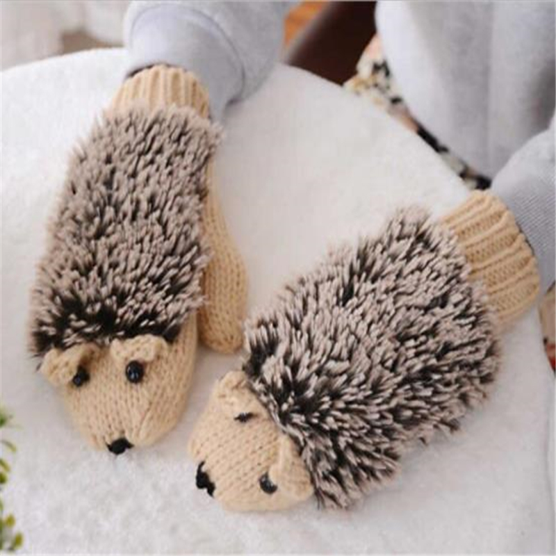 Anime Autumn And Winter Thick Warm All Fingers Cute Ladies Wool Cute Hedgehog Gloves Girls Gloves Multiple Colors
