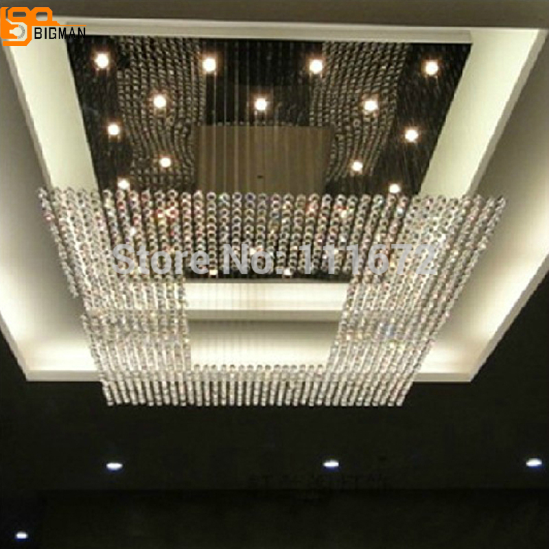 купить new square modern string big crystal chandelier hotel lobby chandelier lighting free shipping по цене 44735.56 рублей