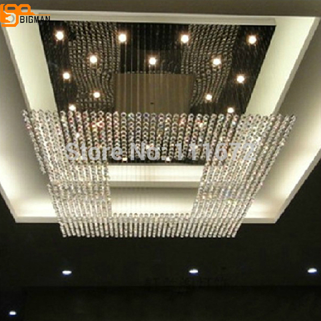New square modern string big crystal chandelier hotel lobby new square modern string big crystal chandelier hotel lobby chandelier lighting free shipping aloadofball Choice Image
