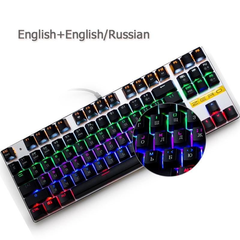 цена на Russian gaming Mechanical Keyboard 87/104 keys Anti-ghosting Luminous usb Wired keyboard blue/red/black switch Backlit Keyboard
