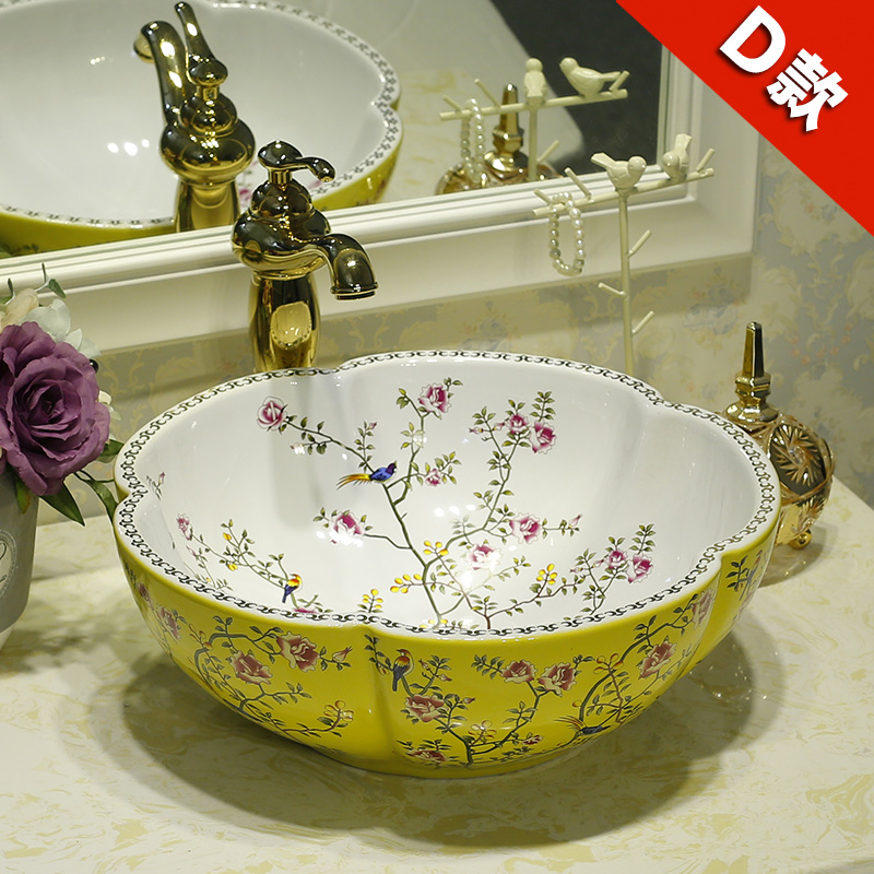 Ceramic Counter Top Wash Basin Cloakroom Hand Painted