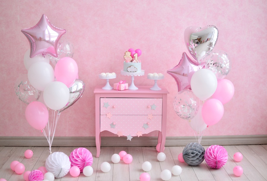 Laeacco Baby Girl Birthday Colorful Balloons Butterflies Cake Photo Background Customized Photographic Backdrop For Photo Studio in Background from Consumer Electronics