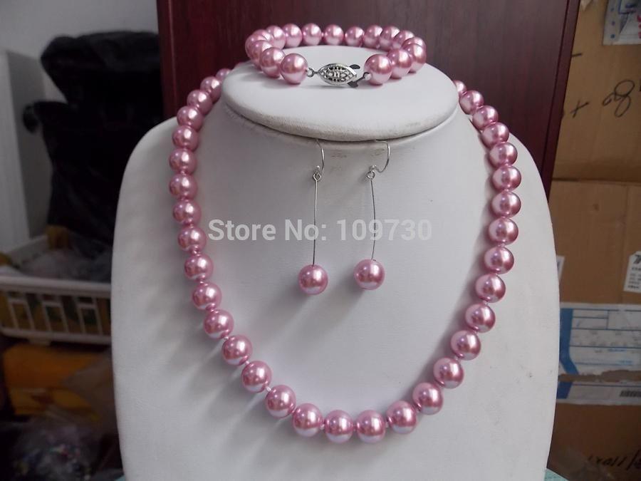 Jewelry 00828 10mm Pink Ocean Shell Sea Pearl Necklace Bracelet Earring Set AAA (A0423)