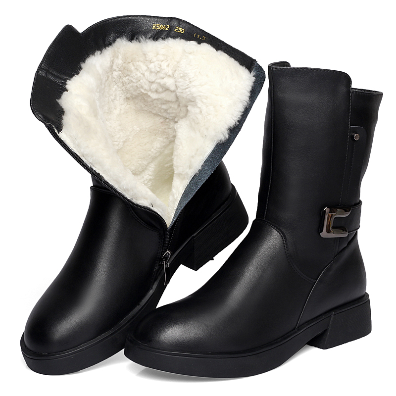 Newest Fashion Metal Buckle Comfort Warm Wool Cow Leather boots Women Boots 2019 Winter Snow Boots