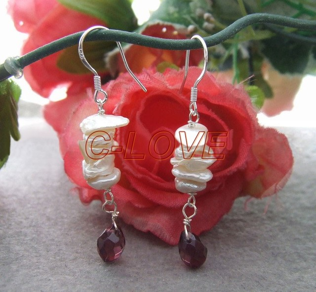 White Keshi Pearl&Crystal Sterling Silver Earrings +free shippment
