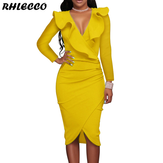 d22bb3ef75 2018 Winter White Ruffle Sexy Party Wrap Bodycon Dress Women Autumn Black  Long Sleeve Ladies Casual Office Midi Dress Yellow Red