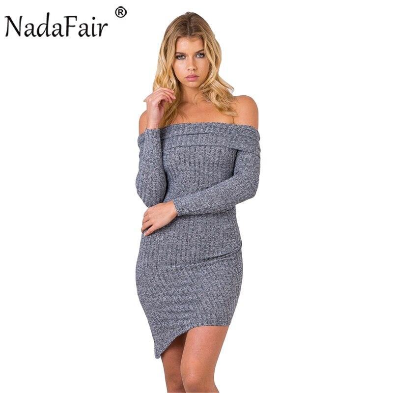 Nadafair Off Shoulder Long Sleeve Slash Neck Cotton Knitted Asymmetrical Wrap Sexy Bodycon Winter Dress sweetheart off shoulder asymmetrical bodycon dress