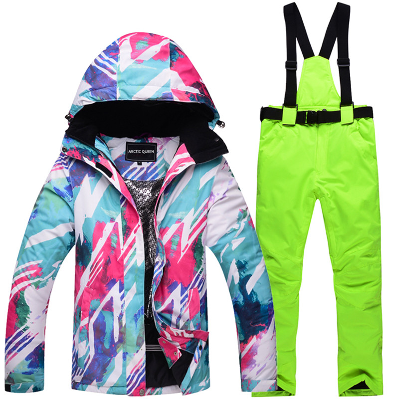 High quality Ski Team For Women Waterproof Winter Jacket + Pants Suits Thicken for Women Women's Ski Snow Snowboard Breath Kits mizuno breath thermo socks light ski mzn73uu152 мужские