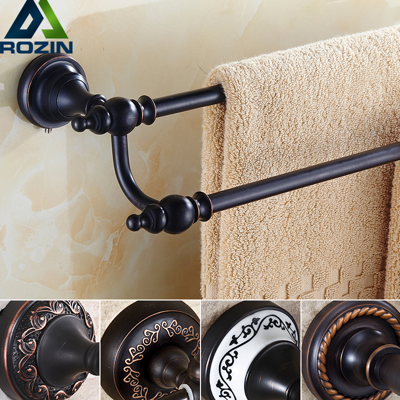 European Style Brass Bathroom Towel Rail Wall Mounted Towel Holder Double Towel Bar Bathroom Accessories european antique brass double towel bars luxury towel rack towel bar wall mounted towel holder bathroom accessories zl 8711f