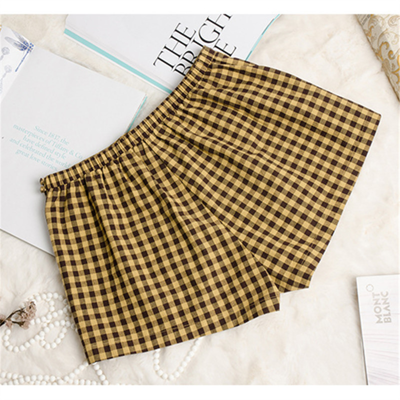 Women Yellow Plaid Sleep Bottoms  Cotton Cute Sweet Elegant Summer Shorts Color Top Quality For Women