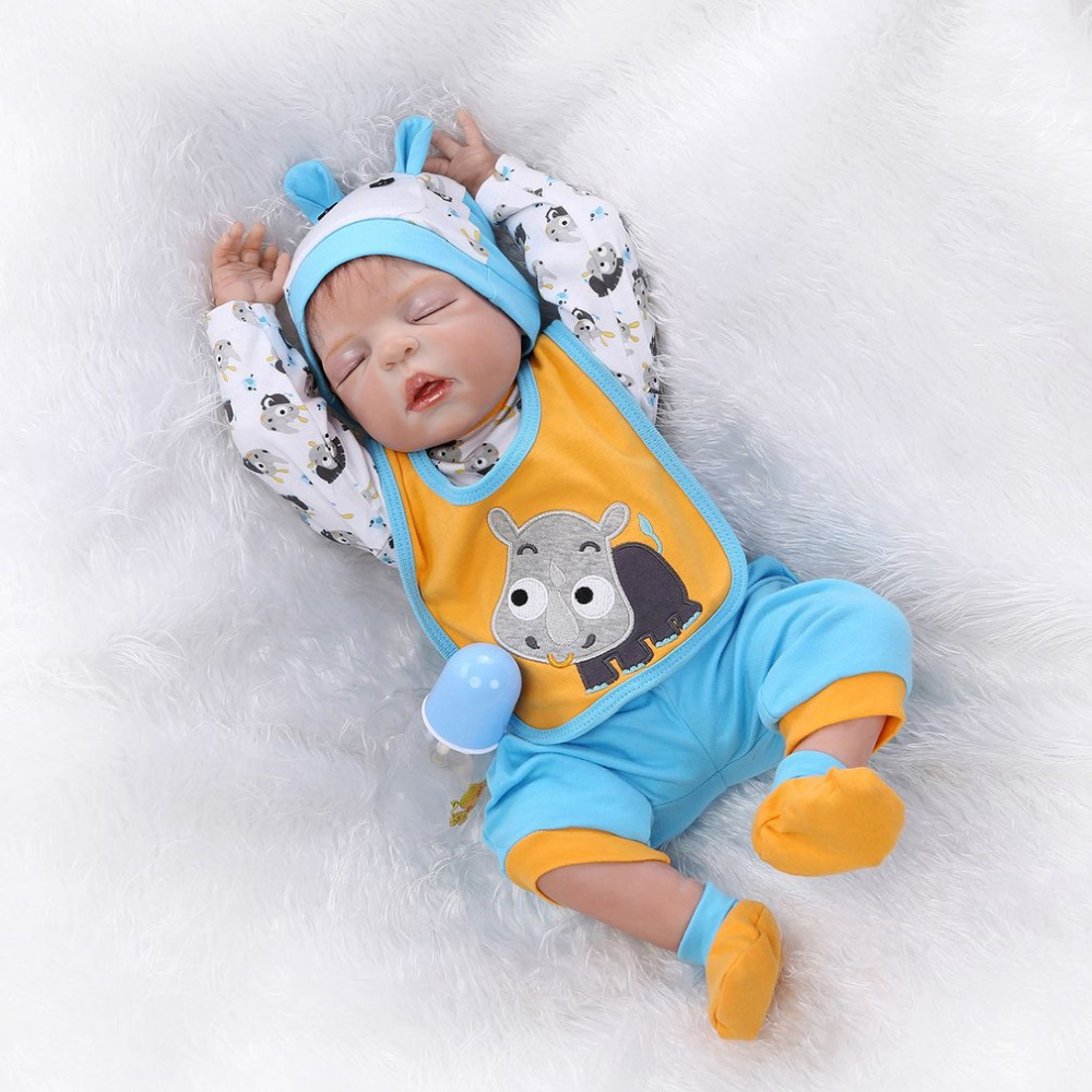 купить 56cm Lifelike Silicone Reborn Baby Doll Toys Alive Newborn Dolls Handmade Full Vinyl body Wear bebe Infant Kids Playmates недорого
