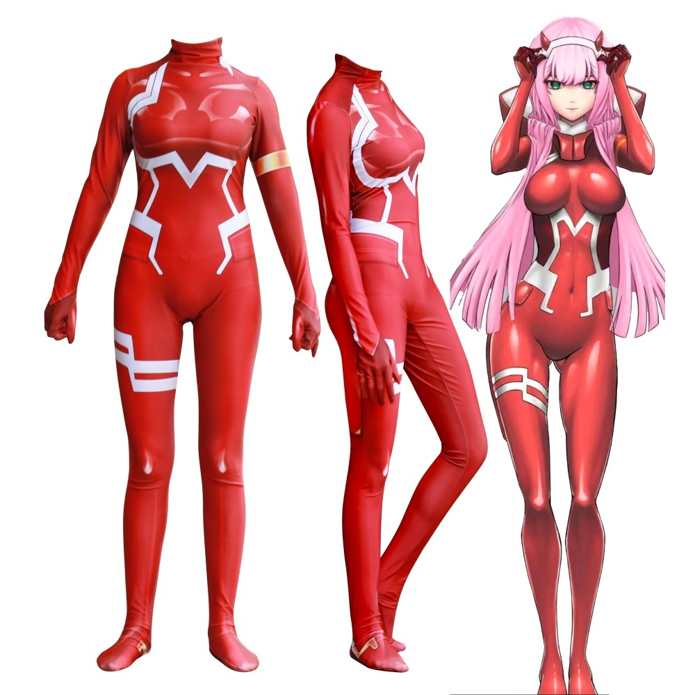 Anime DARLING in the FRANXX 02 Zero Two Cosplay Costume 3D Printed Zentai Bodysuit Women Girls Halloween Jumpsuits Party Dress